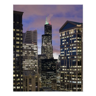 Aerial view of buildings in the Chicago Loop, Poster
