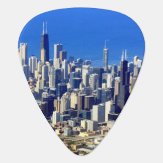 Aerial view of Chicago Downtown with Lake Guitar Pick
