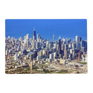 Aerial view of Chicago Downtown with Lake Laminated Placemat