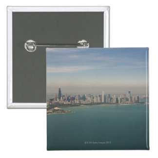 aerial view of Chicago from lake Michigan 2 Inch Square Button