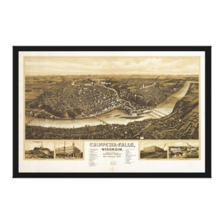 Aerial View of Chippewa Falls, Wisonsin (1907) Canvas Print