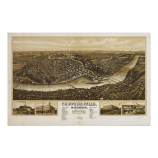 Aerial View of Chippewa Falls, Wisonsin (1907) Poster