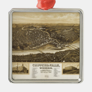 Aerial View of Chippewa Falls, Wisonsin (1907) Silver-Colored Square Ornament
