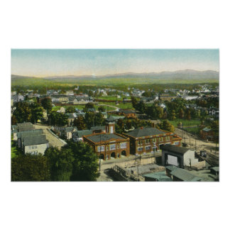 Aerial View of City, Fire Station & Municipal Poster