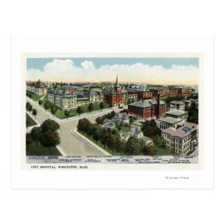 Aerial View of City Hospital Postcard