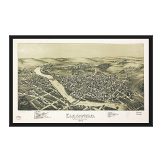 Aerial View of Clearfield, Pennsylvania (1895) Canvas Print