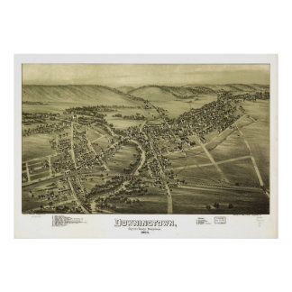 Aerial View of Downington, Pennsylvania (1893) Poster