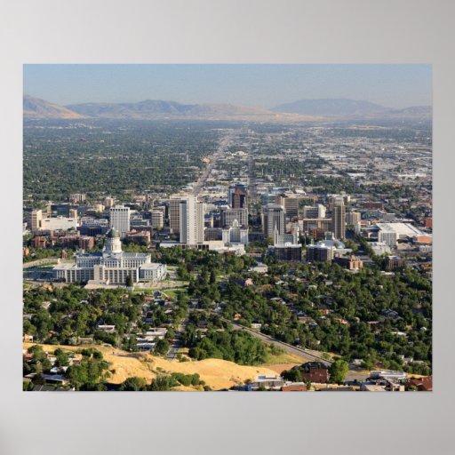 Aerial view of downtown Salt Lake City, Utah Print