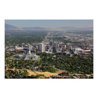 Aerial view of downtown Salt Lake City, Utah Poster