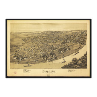 Aerial View of Duquesne, Pennsylvania (1897) Canvas Print