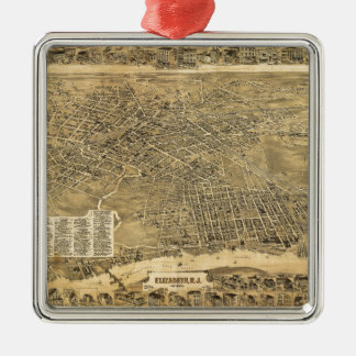Aerial View of Elizabeth, New Jersey (1898) Silver-Colored Square Ornament