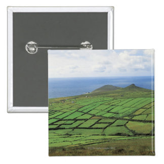 aerial view of farmland by the sea 2 inch square button