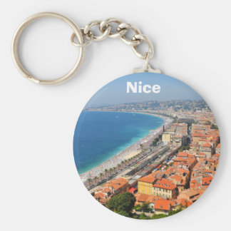 Aerial view of French Riviera in Nice, France Basic Round Button Keychain
