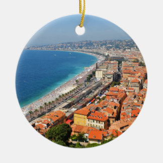 Aerial view of French Riviera in Nice, France Round Ceramic Ornament