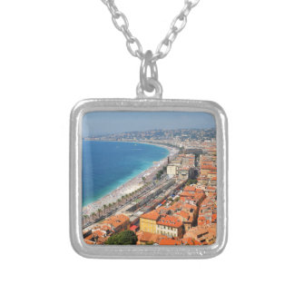 Aerial view of French Riviera in Nice, France Silver Plated Necklace