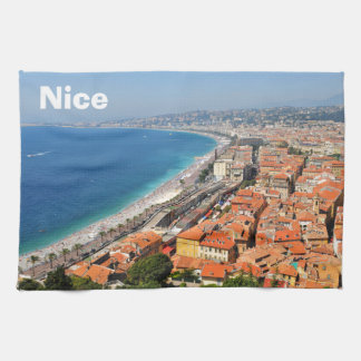 Aerial view of French Riviera in Nice, France Towels