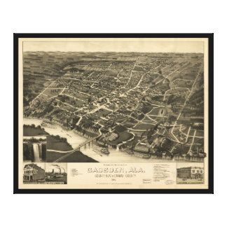 Aerial View of Gadsden, Alabama (1887) Canvas Print