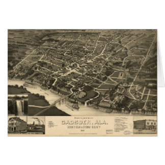 Aerial View of Gadsden, Alabama (1887) Card