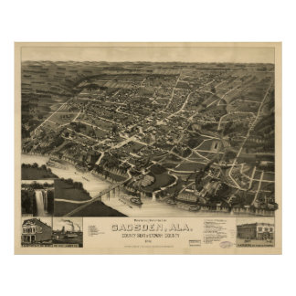 Aerial View of Gadsden, Alabama (1887) Poster