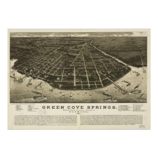 Aerial View of Green Cove Springs, Florida (1885) Poster