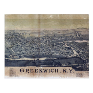 Aerial View of Greenwich, New York (1885) Postcard