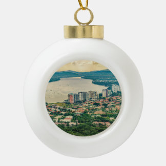 Aerial View of Guayaquil Outskirt from Plane Ceramic Ball Christmas Ornament