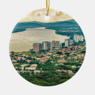 Aerial View of Guayaquil Outskirt from Plane Ceramic Ornament