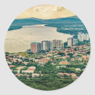 Aerial View of Guayaquil Outskirt from Plane Classic Round Sticker
