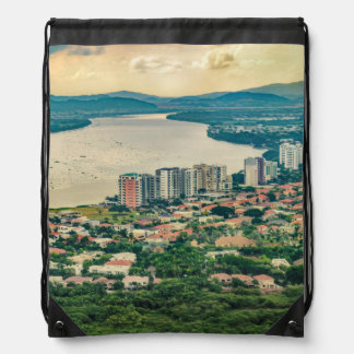 Aerial View of Guayaquil Outskirt from Plane Drawstring Bag