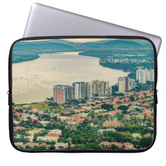 Aerial View of Guayaquil Outskirt from Plane Laptop Sleeve