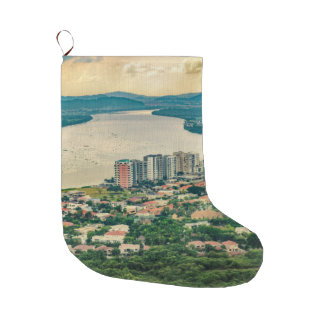 Aerial View of Guayaquil Outskirt from Plane Large Christmas Stocking