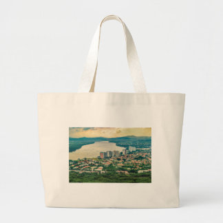 Aerial View of Guayaquil Outskirt from Plane Large Tote Bag