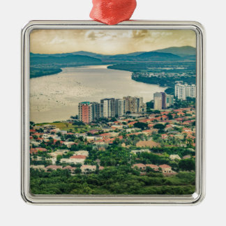 Aerial View of Guayaquil Outskirt from Plane Metal Ornament