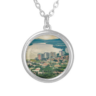 Aerial View of Guayaquil Outskirt from Plane Silver Plated Necklace