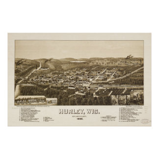 Aerial View of Hurley, Wisconsin (1886) Poster