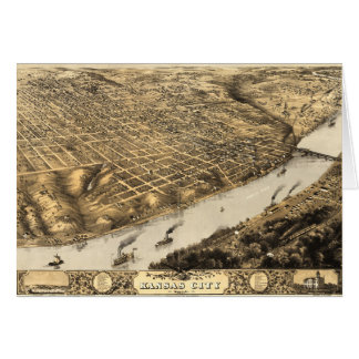 Aerial View of Kansas City, Missouri (1869) Card