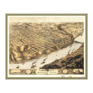 Aerial View of Kansas City, Missouri (1869) Stretched Canvas Print