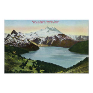 Aerial View of Lake Garibaldi and Mount Garibald Poster