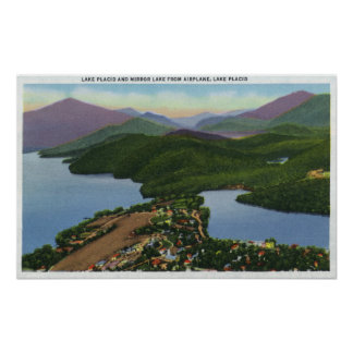 Aerial View of Lakes Placid and Mirror Poster