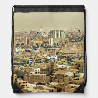 Aerial View of Lima Outskirts, Peru Drawstring Bag