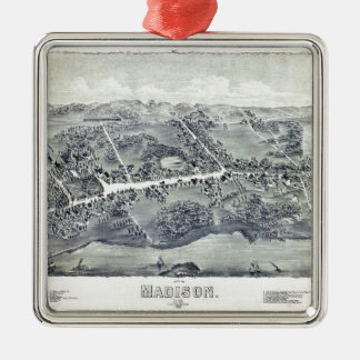 Aerial View of Madison, Connecticut (1881) Metal Ornament