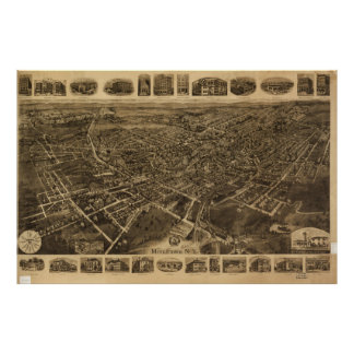 Aerial View of Middletown, New York (1921) Poster