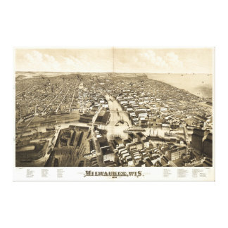 Aerial View of Milwaukee, Wisconsin (1879) Canvas Print