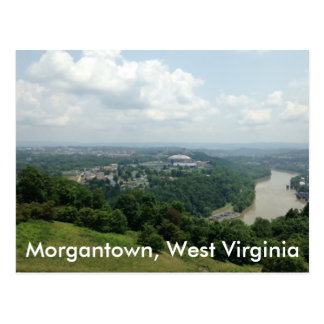 Aerial View of Morgantown WV, Mon River Postcards