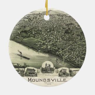 Aerial View of Moundsville, West Virginia (1899) Round Ceramic Ornament