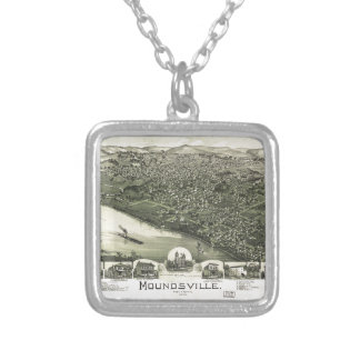 Aerial View of Moundsville, West Virginia (1899) Silver Plated Necklace