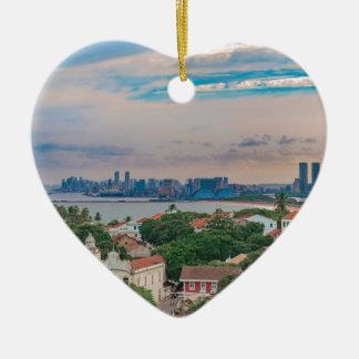 Aerial View of Olinda and Recife Pernambuco Brazil Ceramic Heart Ornament