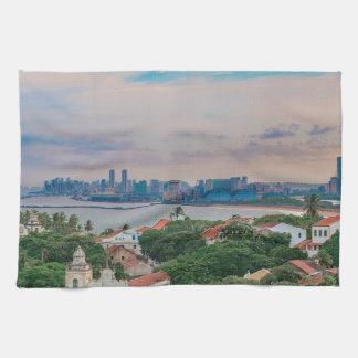 Aerial View of Olinda and Recife Pernambuco Brazil Kitchen Towel