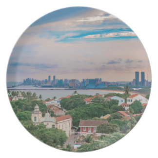 Aerial View of Olinda and Recife Pernambuco Brazil Plate
