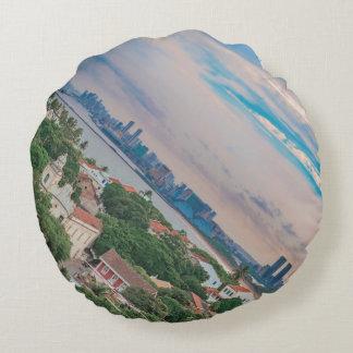 Aerial View of Olinda and Recife Pernambuco Brazil Round Pillow